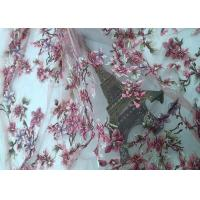 Buy cheap Wedding Custom Mesh Lace Fabric Beige Pink Lace 3d Flower Fabric Handwork Beads Embroidered from wholesalers