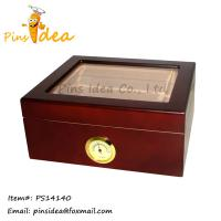 Buy cheap Wood Rosewood Humidor, Glass Top Lid, Front Mounted Hygrometer, Wholesale Factory Price from wholesalers