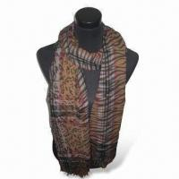 Wholesale Ladies Blended Scarf with 1.5 Inches Tissue and 81 Inches Length, Made of 100% Polyester from china suppliers