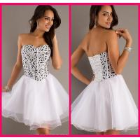 Ball Gown Shot Long Homecoming Dresses White Organza Zipper With Crystal Manufactures