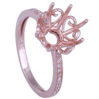 Buy cheap Fashion Filigree Jewelry Semi-mount Rings Rose Gold Plated Silver from wholesalers