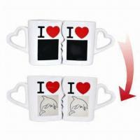 Buy cheap Color-changing gift kiss mug set for promotional purposes, made of porcelain, heat sensitive from wholesalers