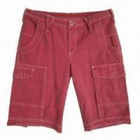 Buy cheap Men's Red Canvas Jeans/Shorts, Made of 100% Cotton with Cargo Pockets and Flaps at Side Seams from wholesalers