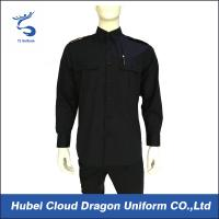 Buy cheap Black 100% Cotton Long Sleeve Work Shirts For Security Guard / Police / Worker from wholesalers