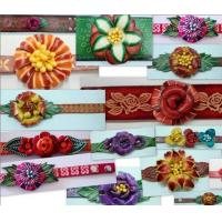 Flower Leather Bracelet, Leather Beaded Wrap Bracelets Manufactures