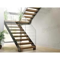 prefabricated stairs glass railing wood tread staricase with double  beam stringer Manufactures