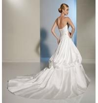 Backless Elegant Beaded Satin Long Wedding Dresses Of Generous Bra Design