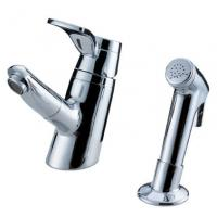 Buy cheap Sink Mounted Brass Two Hole Bathroom Faucet , Unique Pull Out Shower Tap from wholesalers