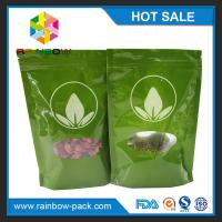 Buy cheap Green Tea Bags Packaging Printed Mylar Stand Up k Bag With Clear Window from wholesalers
