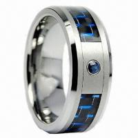 Buy cheap Tungsten carbon fiber ring/diamond inlaid tungsten ring/tungsten wedding ring/engagement ring from wholesalers