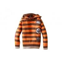 Wholesale Orange And Brown Stripes Hooded lovely Anti - Piling fabric dyeing hand knitted baby wear from china suppliers
