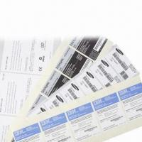 Buy cheap Barcode Label, Made of Adhesive Paper PET, Thermal Paper/Thermal Transfer Paper, Precision Die-cut from wholesalers