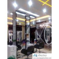 Buy cheap Budget Chain salon store decoration in white furniture hairdressing styling mirror with wood stand and leather swirl cha from wholesalers