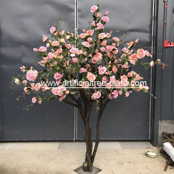 Quality Contom Interior Artificial Rose Flower Tree For Wedding Home Decoration for sale