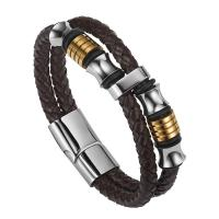 Buy cheap High quality body jewelry double stainless steel woven leather bracelet with magnetic clasp from wholesalers