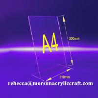 Buy cheap L shape 3mm transparent acrylic A4 stand for brochure holders from wholesalers