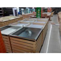 Buy cheap Supermarket accessories wood, pine wood pile head with Stainless steel plate from wholesalers