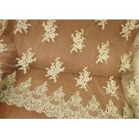 Buy cheap Vintage Corded Floral Gold Bridal Lace Fabric , Embroidered Net Lace Fabric For Gown from wholesalers
