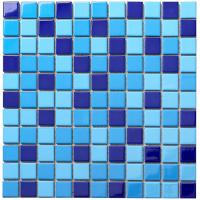 Buy cheap Blue Square Glass Mosaic Bathroom Wall Floor Pool Swimming Tile from wholesalers