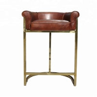 Buy cheap Gold Plated  Vintage Leather Bar Chairs Bar Stool With Stainless Steel Legs from wholesalers