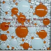 Buy cheap White and Orange 3D Ronnd Glass Mosaic Tile,Mosaic Factory product