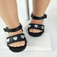 Buy cheap black sandals doll shoes 18 inch girl doll shoes from wholesalers