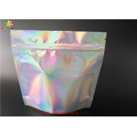 Buy cheap Hologram Laminated Materials Stand Up Laser Foil Bag With Zipper/Private labels Clear front cosmetic aluminum foil pouch from wholesalers