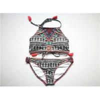 China Front Cover Ladies' Recycled Bikini Check Print Recycled Polyester Strap End With Tassle on sale