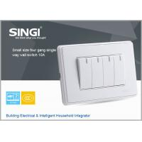 Buy cheap GNW58C Classic design white,champagne plate 4 gang single way wall switches and socket from wholesalers