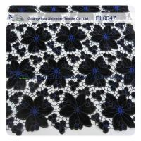 Anti - Static Embroidered Lace Fabric Black Width 130 - 135cm Polyester Material Manufactures