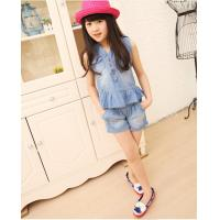Buy cheap Wholesale 2014 girls suits flouncing Jean suits Children's fashion suits girls sets from wholesalers
