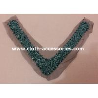 Buy cheap V Shape Gunmetal Vintage Beaded Collar With Black Mesh , Green Beads product