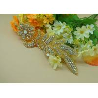 Silver Iron On Flower Design Rhinestone Beaded Applique For Deciration Manufactures