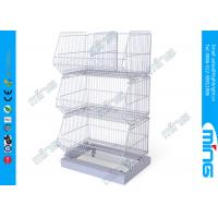 Buy cheap Floor Stacking Wire Dump Bins with 3 Basket , Powder Coating from wholesalers