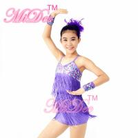 Buy cheap Biketard Confetti Sequin Fringe Dress Kids Purple Latin Dance Costumes from wholesalers