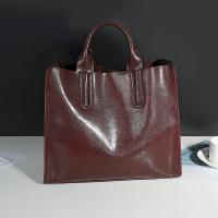 Buy cheap Cowhide Casual Tote Black Leather HandbagsWith Mobile Phone / Document Pocket from wholesalers