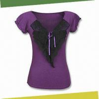 Buy cheap women's T-shirt, Made of 95%viscose, 5%spandex from wholesalers