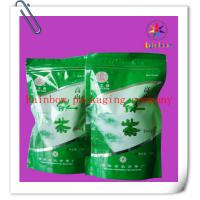 China Ziplock Bottom Gusset Plastic Bag Packaging , Green Tea Packaging Bag on sale