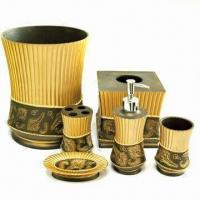 Buy cheap Resin Bath Set in Bronze Color, Includes Soap Dispenser, Tissue Box and Waste Basket from wholesalers
