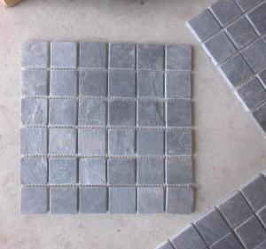 China Black Slate Mosaic Wall Tile Natural Stone Mosaic Carbon Black Mosaic Pattern Floor Parquet on sale