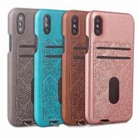 Wholesale ID Credit Card Slot Embossed Leather Back Phone Case For Iphone X,For iPhone X back case cover with card holders from china suppliers