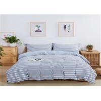 Buy cheap Stripe Design Home Bedding Sets 200TC Washed Cotton With Blue Color from wholesalers