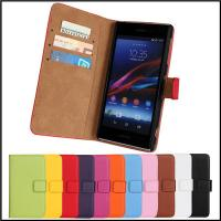 Buy cheap Factory price!!!!Genuine Leather Stand Wallet Case Cover for Sony Xperia Z1 L39h C6902 from wholesalers