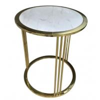 Buy cheap Brass / Gold Glass Living Room Coffee Table Decoration For Hotel Bedroom from wholesalers