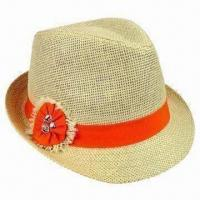 Buy cheap Paper Sheet Natural Girls' Straw Hat with Orange Band and Flower from wholesalers
