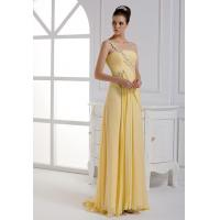 Buy cheap One lace shoulder A-line silk long evening dress wholesale from wholesalers
