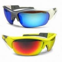 Buy cheap Sports Sunglasses with Flash Mirror and UV400 Lens, Various Colors are Available from wholesalers