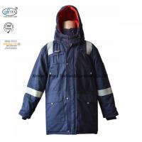 Buy cheap Anti Static Hooded Fire Resistant Winter Coat With Reflective Tape 250gsm from wholesalers