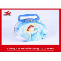 China Round Full Color Printed Cookie Gift Tins Empty Lunch Tin Box With Plastic Handle on sale