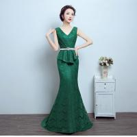 Buy cheap Green Sexy summer long Party Dresses for Women, V neck-line prom dresses LXLSQ-1260 from wholesalers